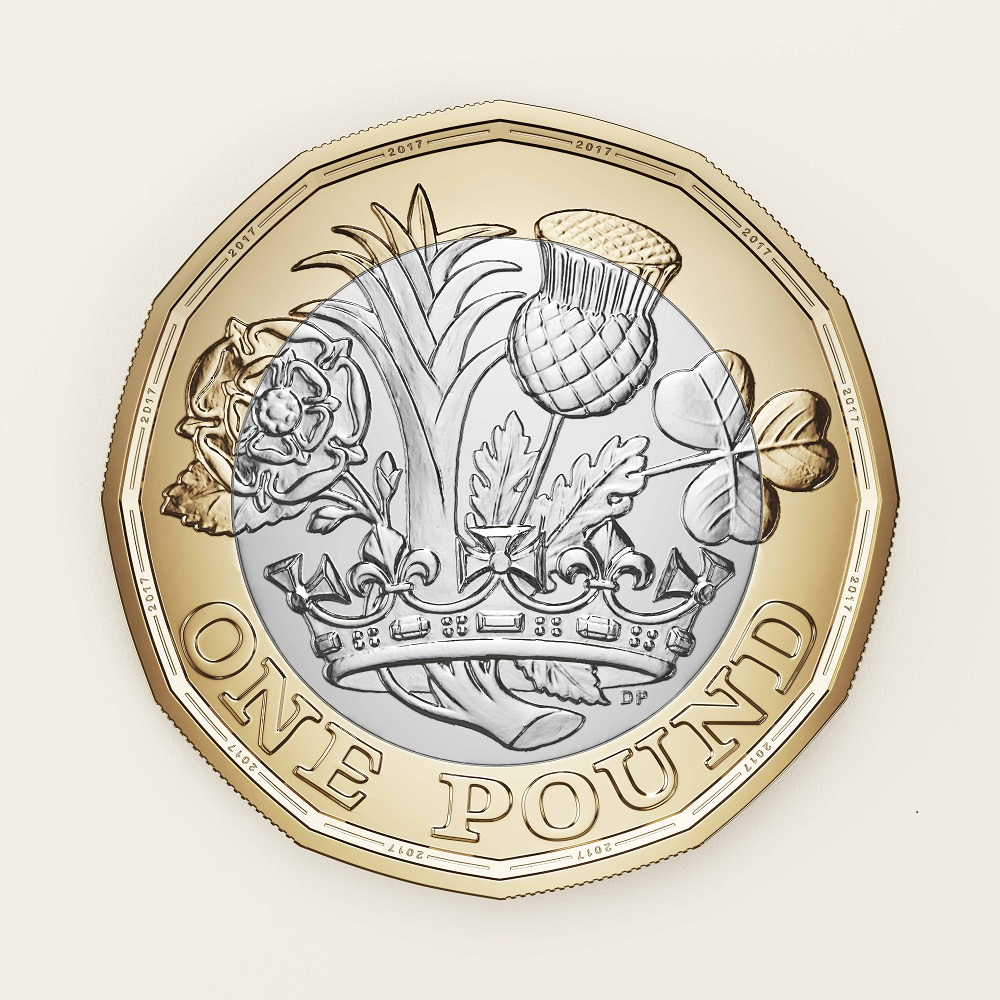 The Reverse of the new £1 coin, to be released into circulation in March 2017.