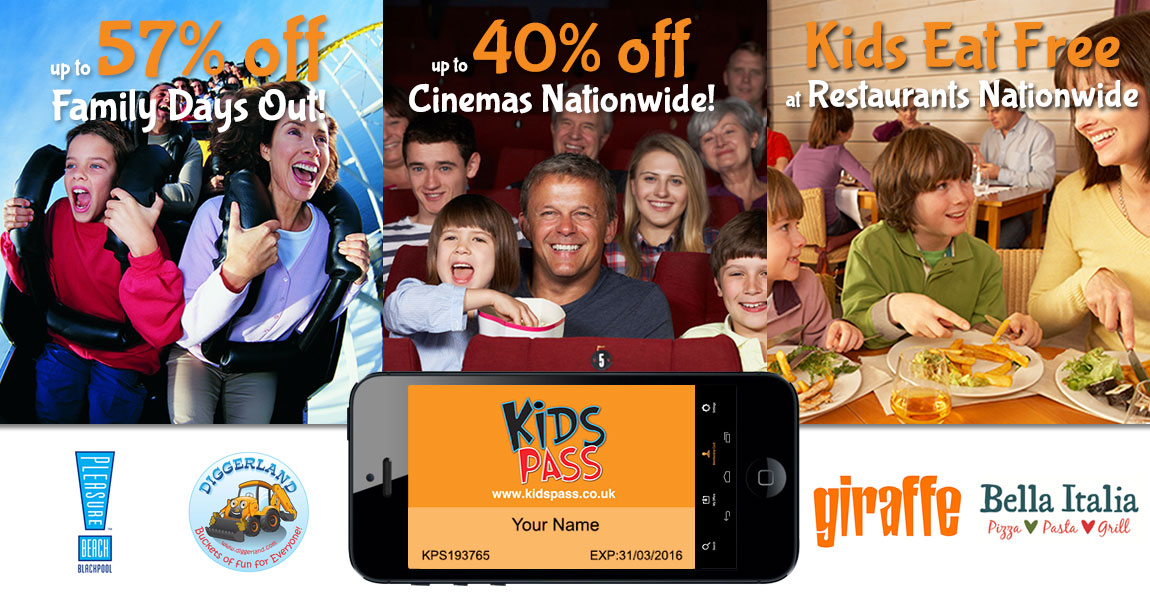 Get a Kids Pass and save money on family days out and cinemas nationwide - click on the picture to find out more!