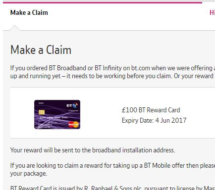£100 reward card for switching to BT.