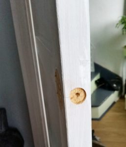 Fitting a tubular latch to a vintage door.