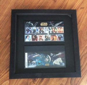 Our Star Wars stamps, finally framed.
