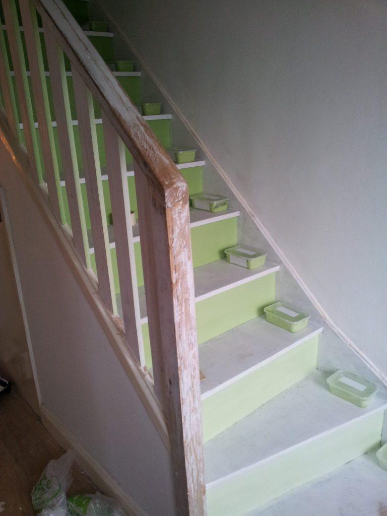 Ombré stairs in progress.