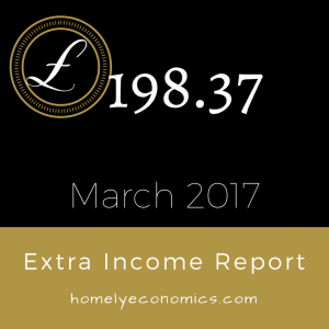 The Homely Economics extra income report for March, 2017.