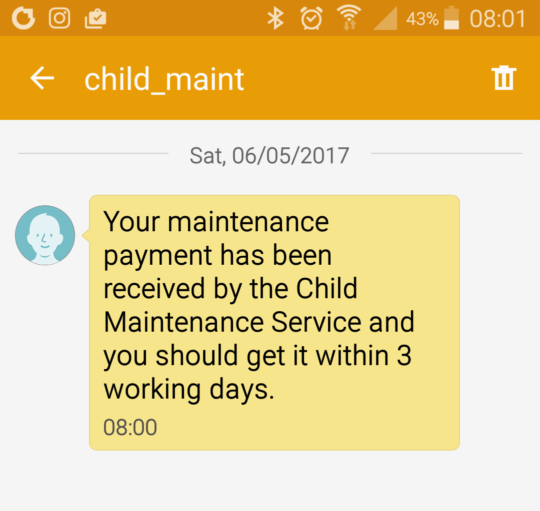 A screenshot of confirmation of my first Child Maintenance Service payment towards years of child support arrears.