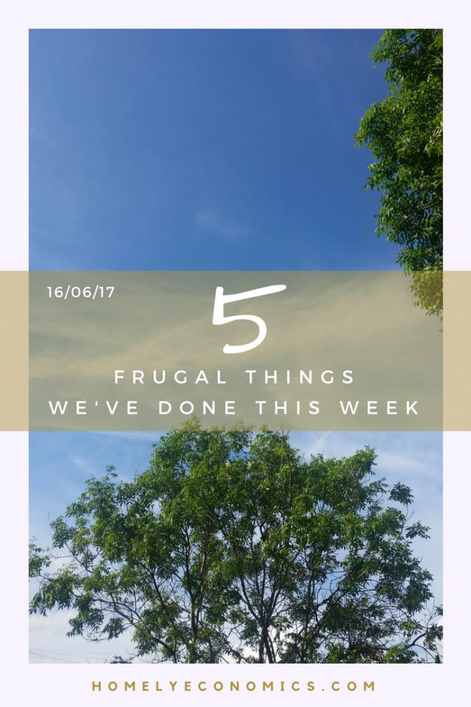 5 Frugal things we did this week - 16th June 2017.