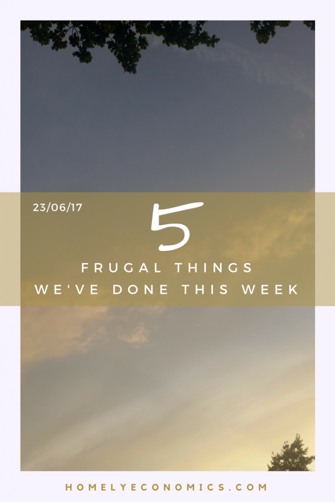 Here are five of the frugal things we've done this week - 23/06/17.