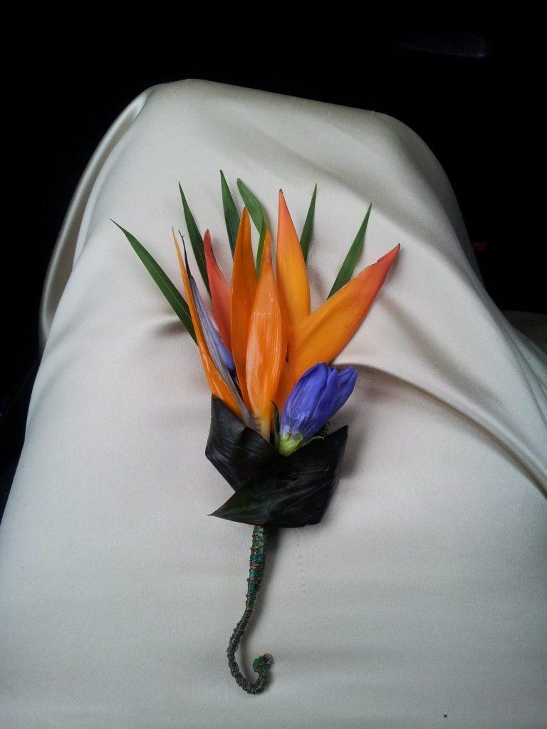 Groom's strelitzia buttonhole