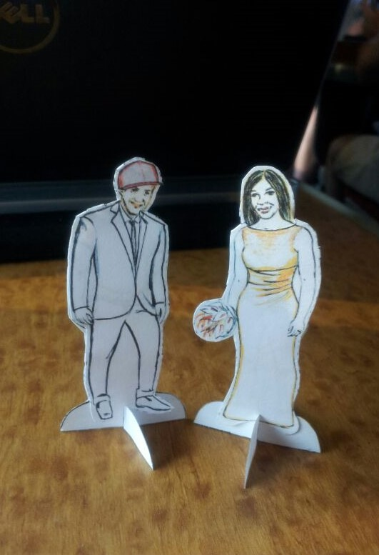 My paper doll wedding invitations wearing their wedding clothes!