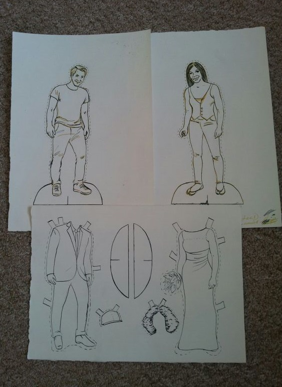 Original drawings for my paper doll wedding invitations
