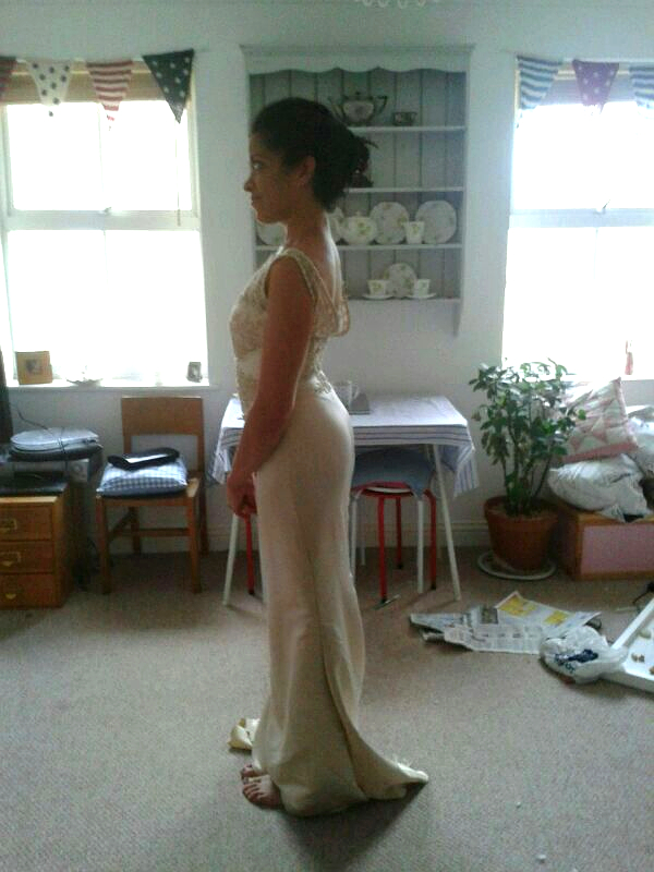 My Pronovias wedding dress during alterations.