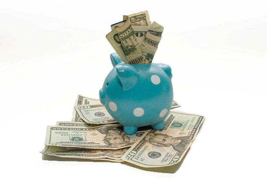 Dollars in a piggy bank