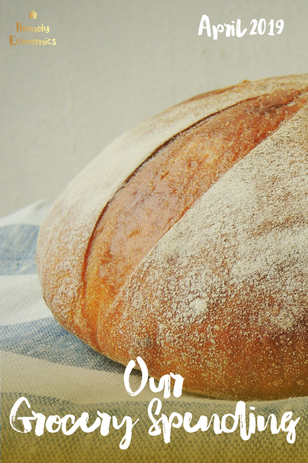 Loaf of bread on a board | Our grocery spending April 2019