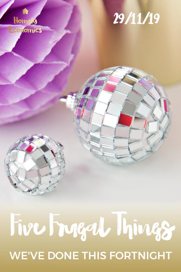 Five frugal things we've done 29/11/19