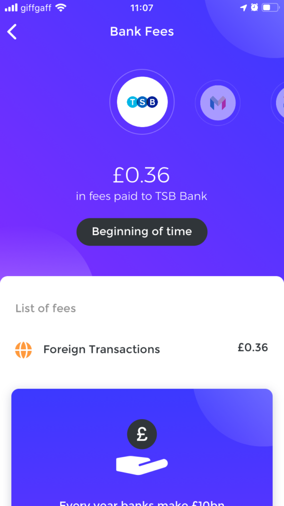 Emma budgeting app screenshot showing foreign transaction fees.